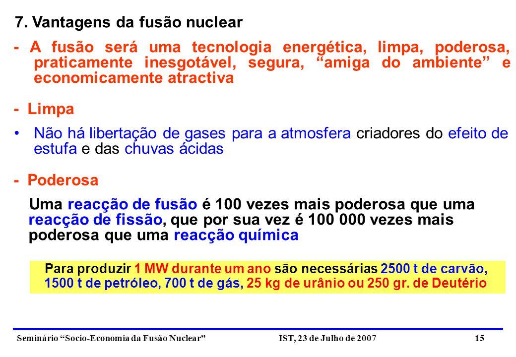 7. Vantagens da fusão nuclear