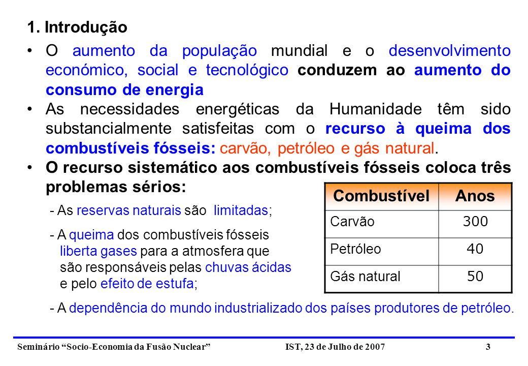 1. Introdução O aumento da população mundial e o desenvolvimento económico, social e tecnológico conduzem ao aumento do consumo de energia.