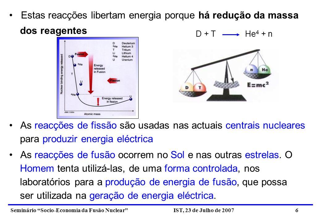 Estas reacções libertam energia porque há redução da massa