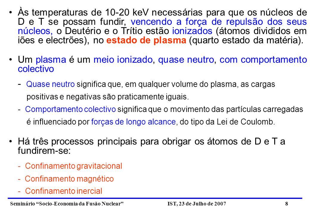 - Quase neutro significa que, em qualquer volume do plasma, as cargas