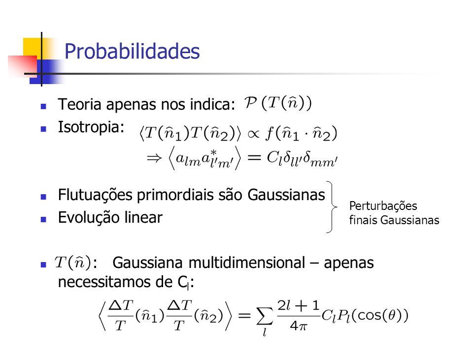 Probabilidades Teoria apenas nos indica: Isotropia: