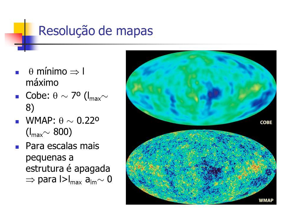 Resolução de mapas  mínimo  l máximo Cobe:  » 7º (lmax» 8)
