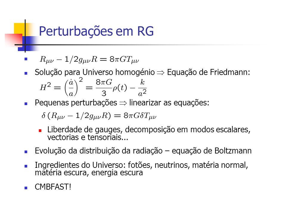 Perturbações em RG Solução para Universo homogénio  Equação de Friedmann: Pequenas perturbações  linearizar as equações: