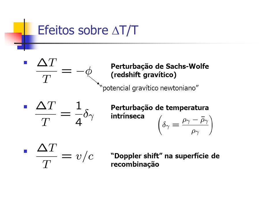 Efeitos sobre T/T Perturbação de Sachs-Wolfe (redshift gravítico)