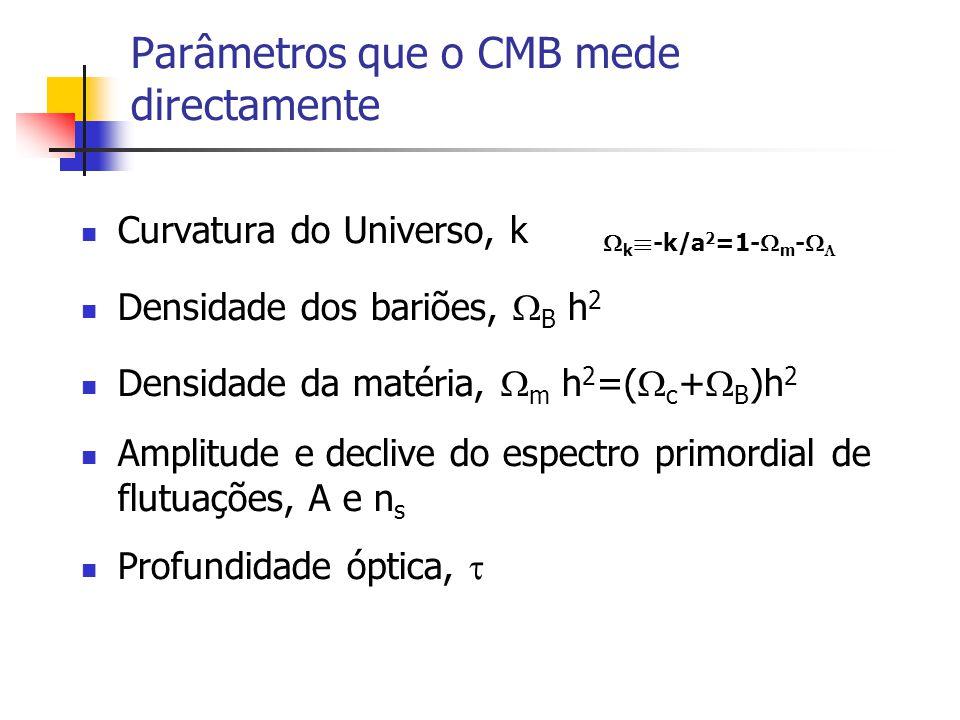 Parâmetros que o CMB mede directamente