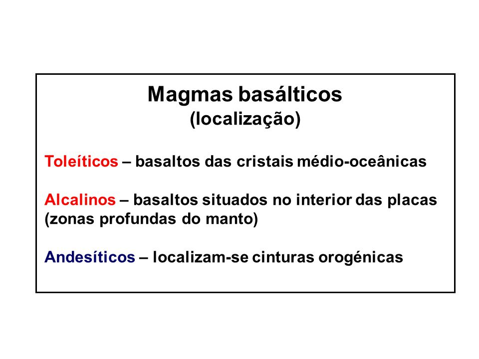 Magmas basálticos (localização)