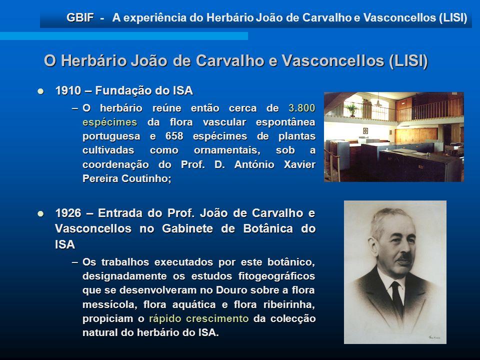 O Herbário João de Carvalho e Vasconcellos (LISI)