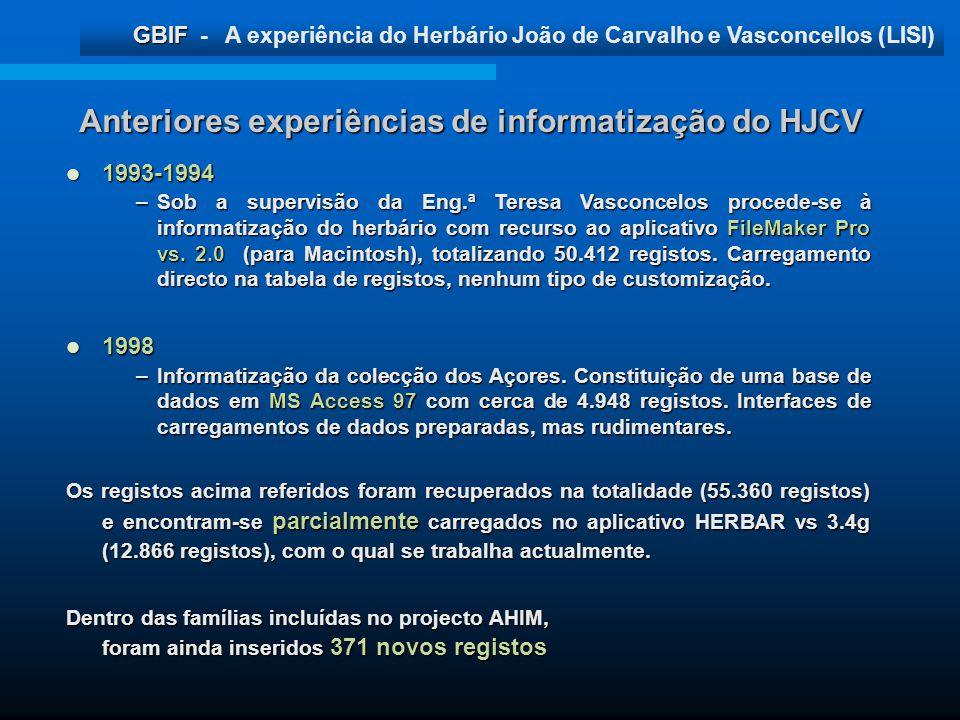 Anteriores experiências de informatização do HJCV