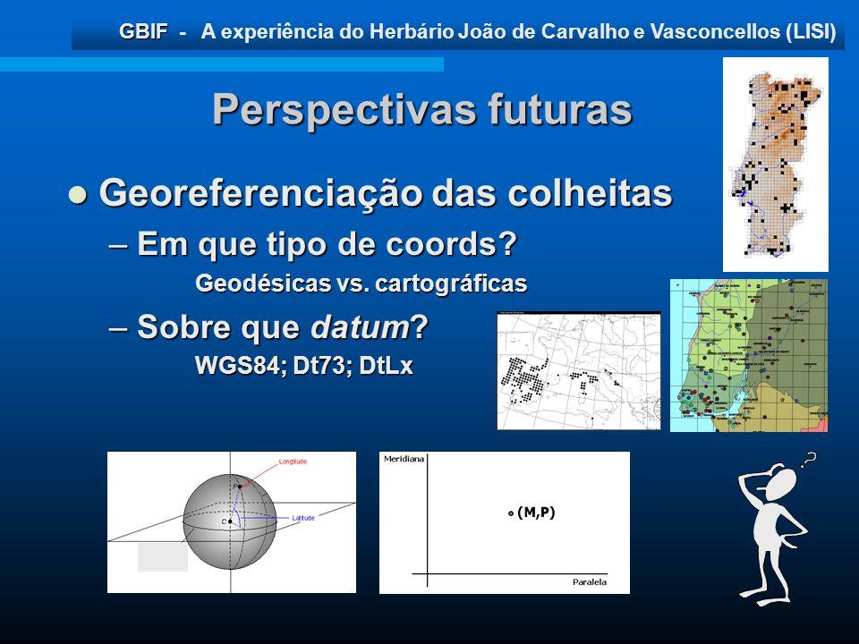 Perspectivas futuras Georeferenciação das colheitas