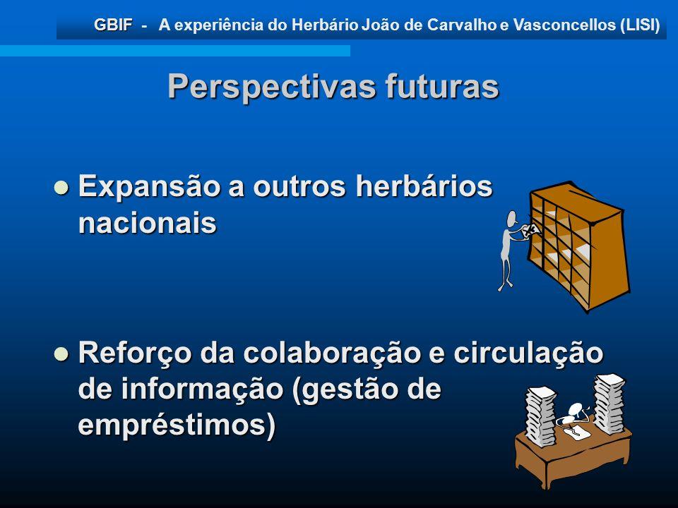 Perspectivas futuras Expansão a outros herbários nacionais
