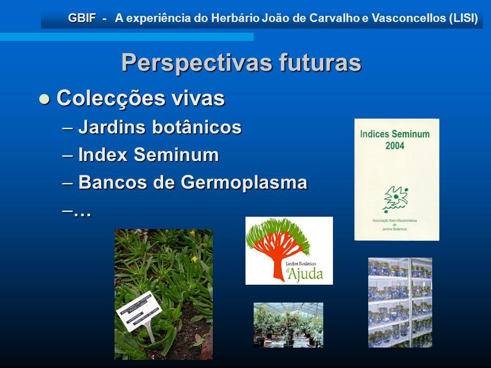 Perspectivas futuras Colecções vivas Jardins botânicos Index Seminum