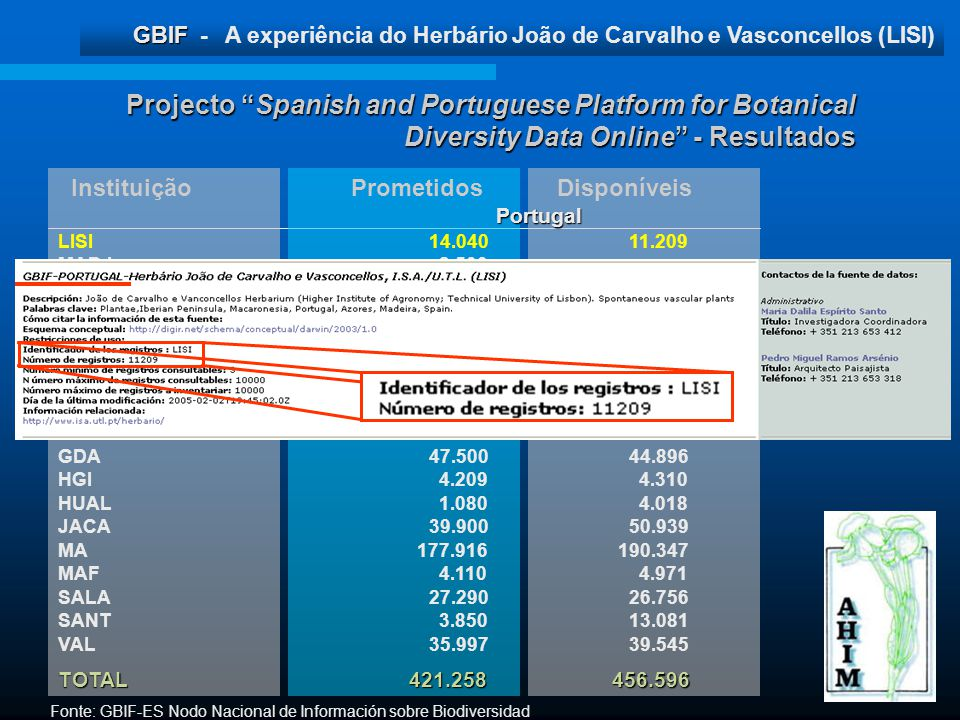 Projecto Spanish and Portuguese Platform for Botanical Diversity Data Online - Resultados