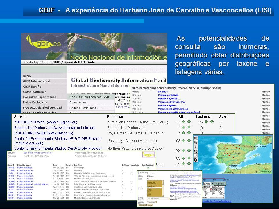 As potencialidades de consulta são inúmeras, permitindo obter distribuições geográficas por taxóne e listagens várias.