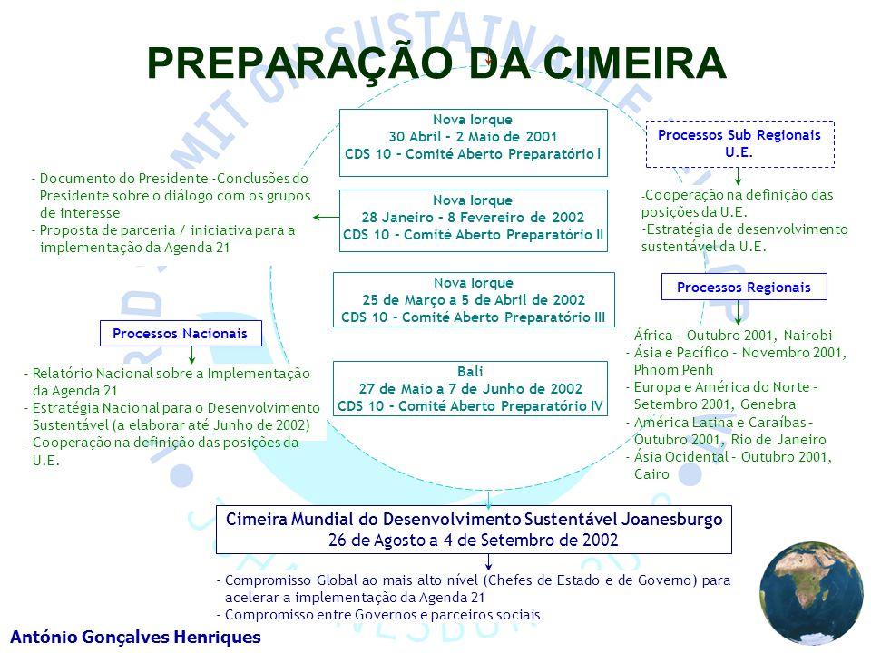 PREPARAÇÃO DA CIMEIRA Nova Iorque. 30 Abril – 2 Maio de 2001. CDS 10 – Comité Aberto Preparatório I.