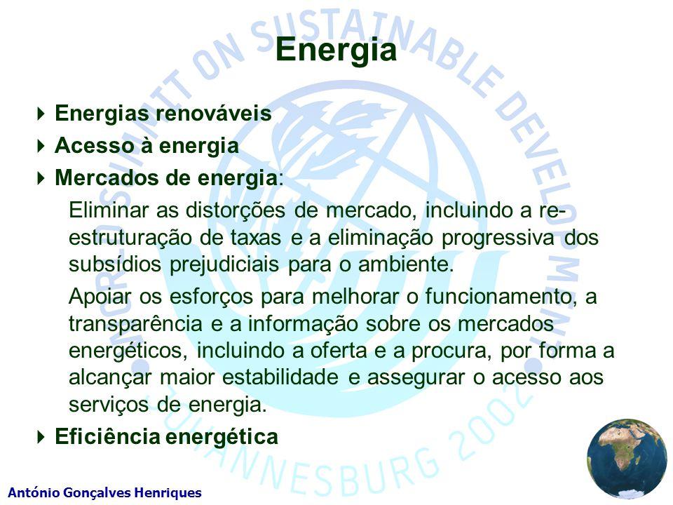 Energia Energias renováveis Acesso à energia Mercados de energia: