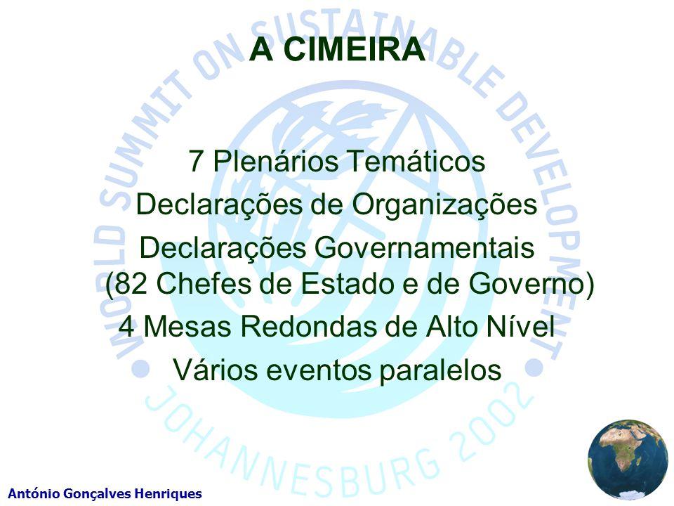 A CIMEIRA 7 Plenários Temáticos Declarações de Organizações