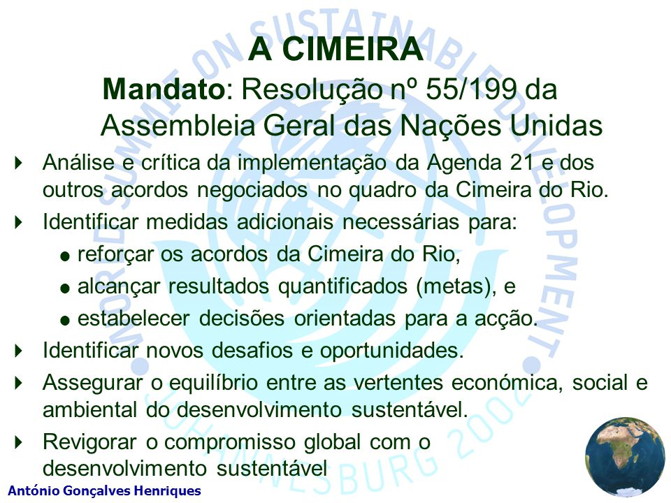 Mandato: Resolução nº 55/199 da Assembleia Geral das Nações Unidas