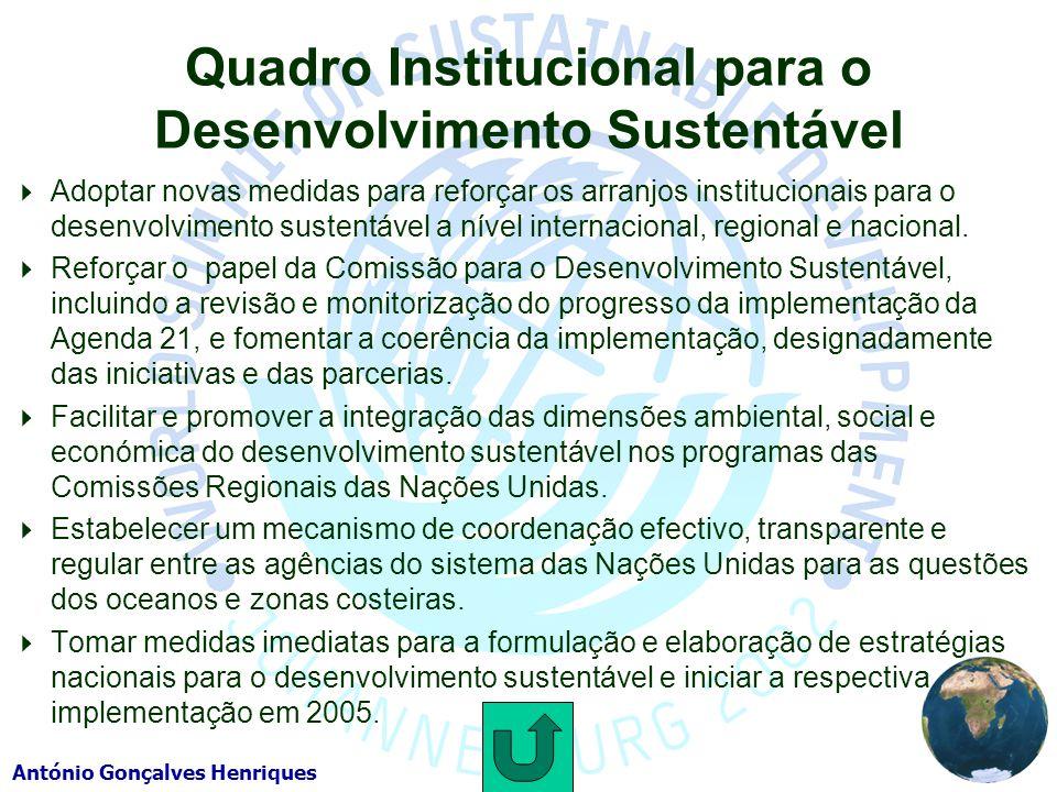 Quadro Institucional para o Desenvolvimento Sustentável