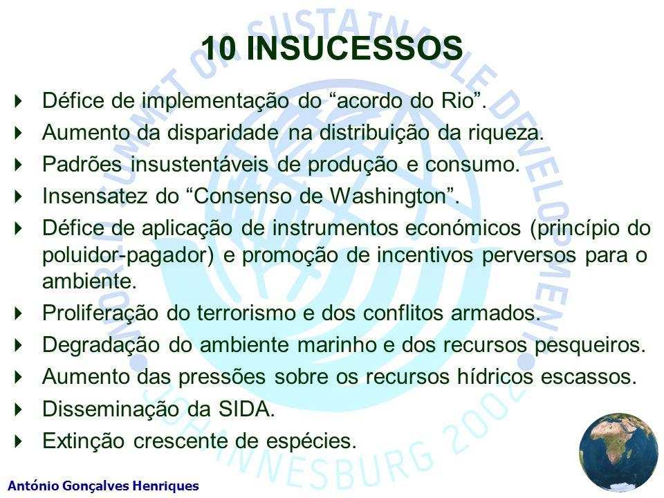 10 INSUCESSOS Défice de implementação do acordo do Rio .