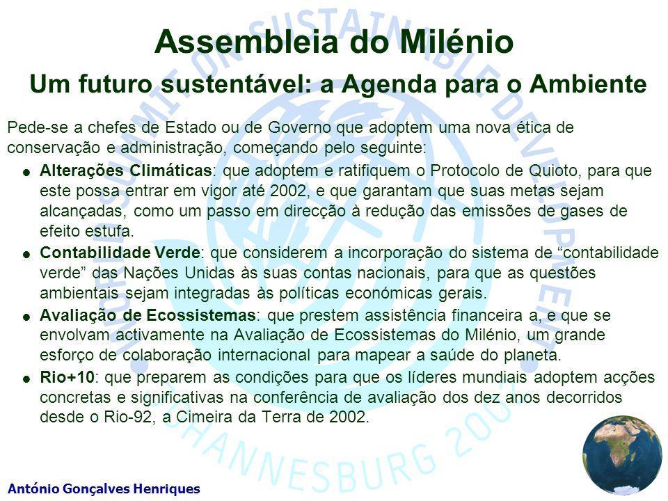 Assembleia do Milénio Um futuro sustentável: a Agenda para o Ambiente