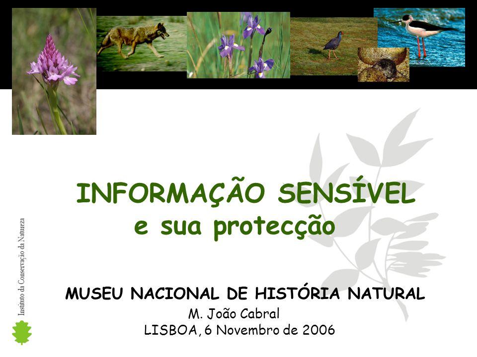 INFORMAÇÃO SENSÍVEL e sua protecção MUSEU NACIONAL DE HISTÓRIA NATURAL