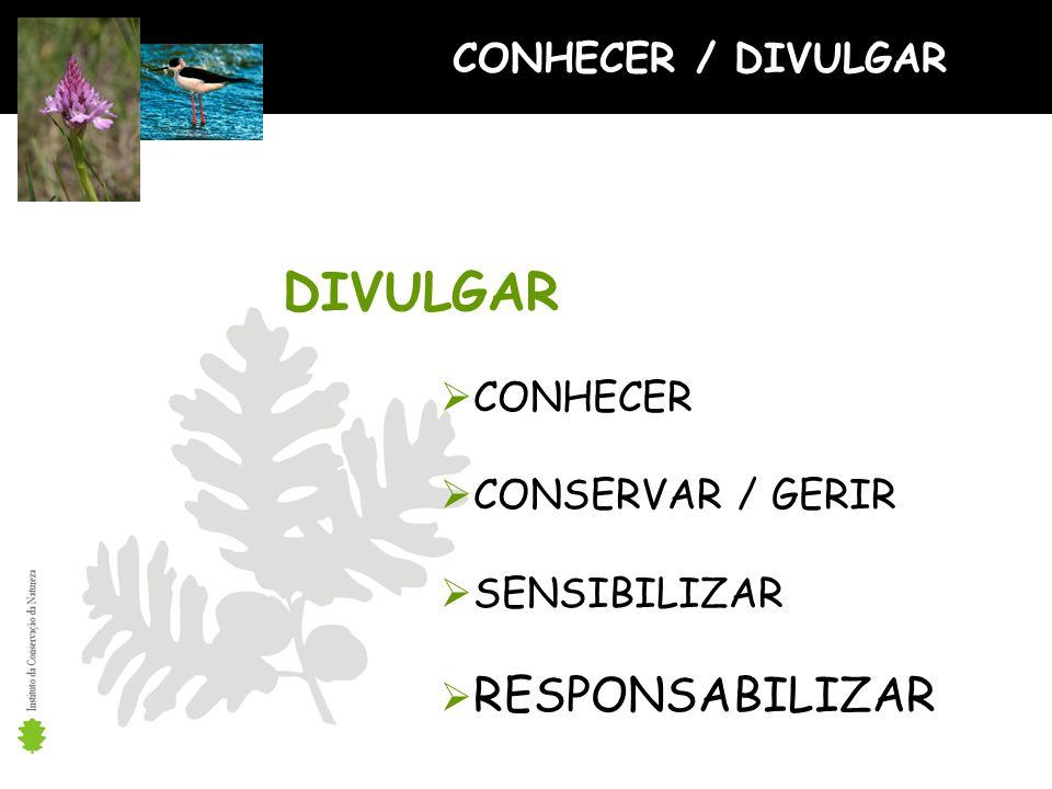 DIVULGAR CONHECER / DIVULGAR CONHECER CONSERVAR / GERIR SENSIBILIZAR