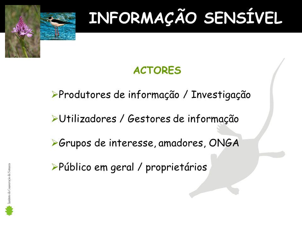 INFORMAÇÃO SENSÍVEL ACTORES Produtores de informação / Investigação