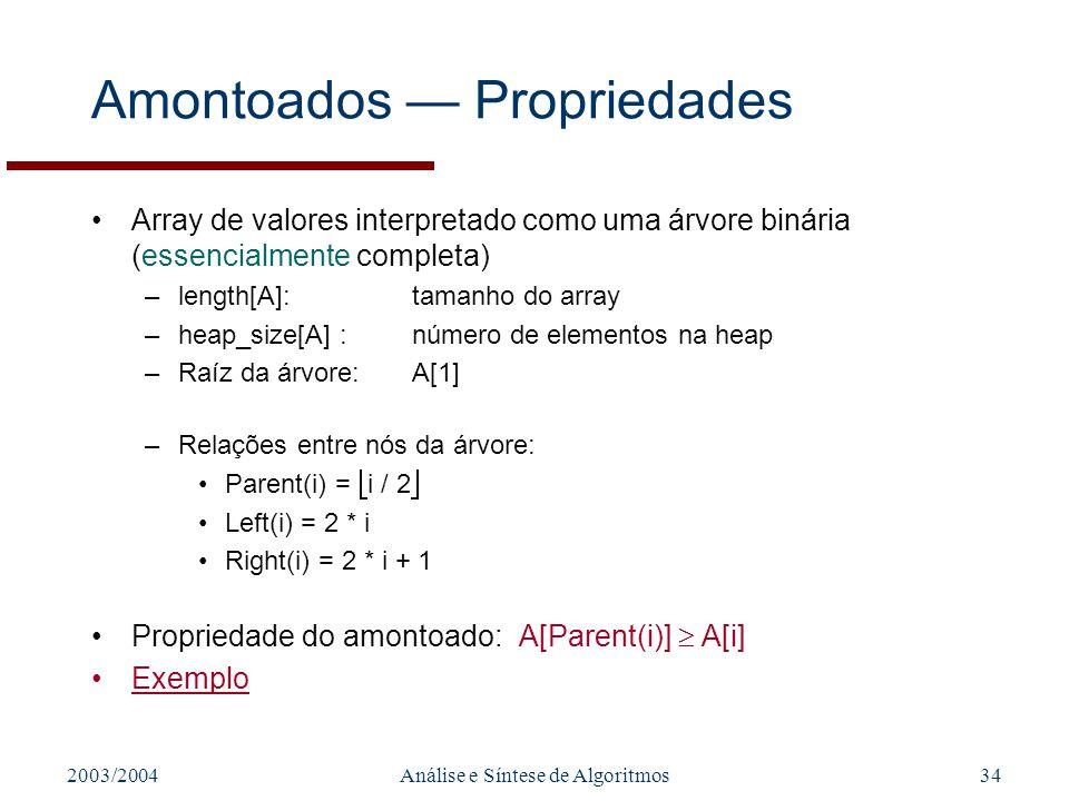 Amontoados — Propriedades