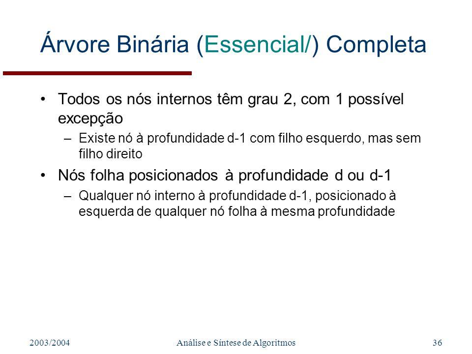Árvore Binária (Essencial/) Completa