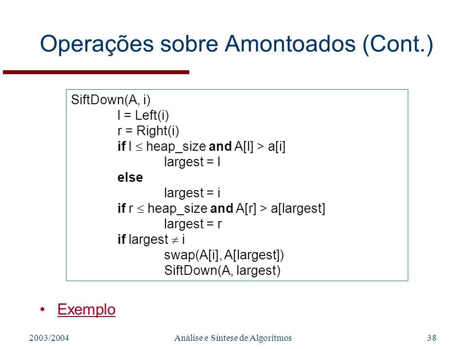 Operações sobre Amontoados (Cont.)