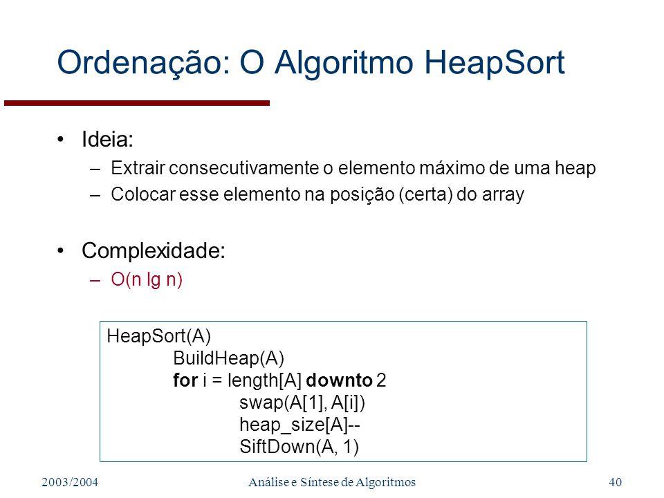 Ordenação: O Algoritmo HeapSort