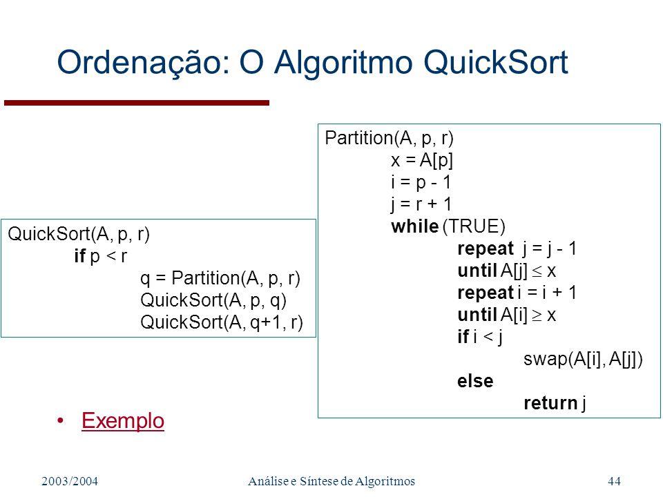 Ordenação: O Algoritmo QuickSort