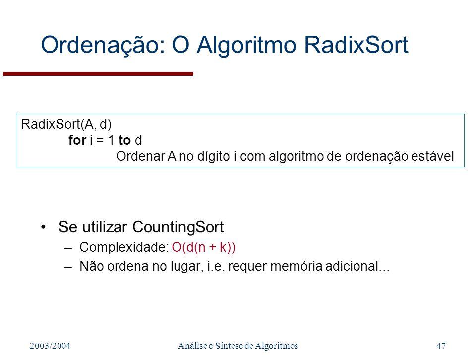 Ordenação: O Algoritmo RadixSort