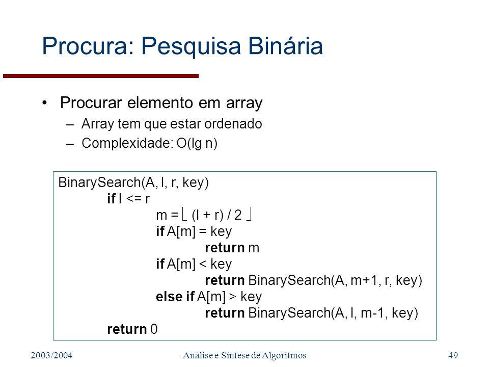 Procura: Pesquisa Binária