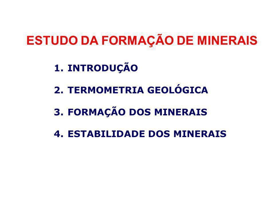 ESTUDO DA FORMAÇÃO DE MINERAIS