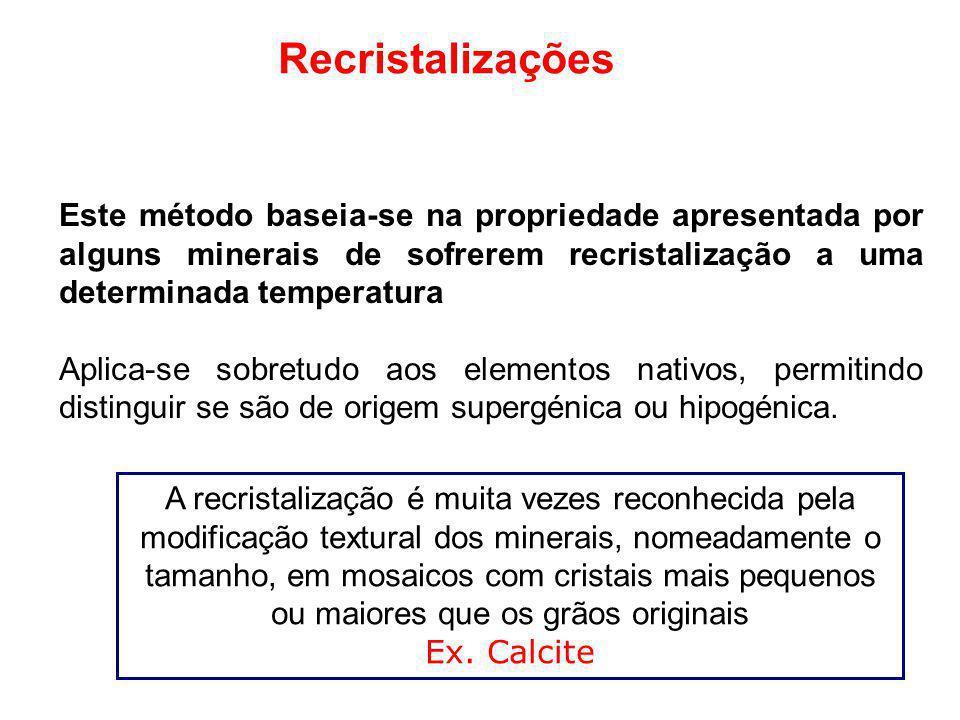 Recristalizações Este método baseia-se na propriedade apresentada por alguns minerais de sofrerem recristalização a uma determinada temperatura.