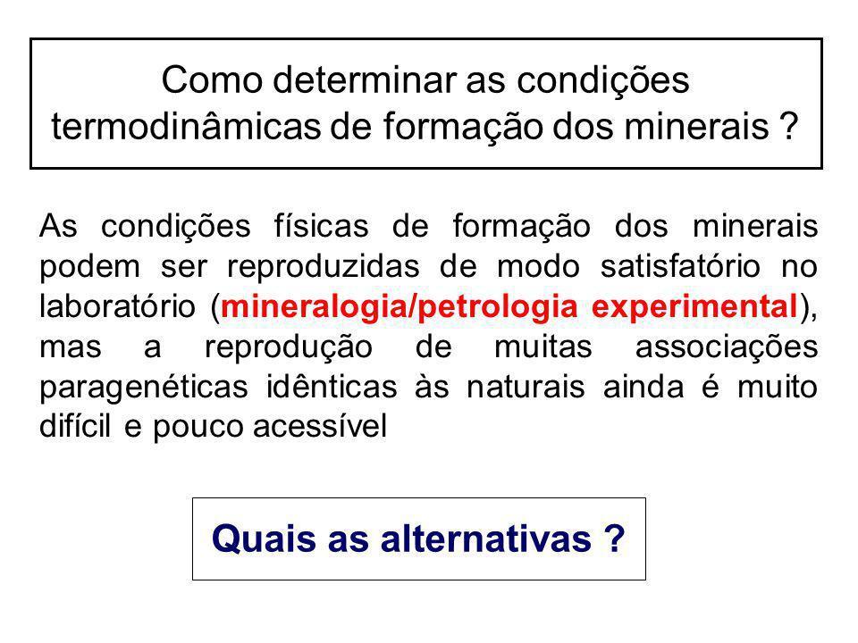 Como determinar as condições termodinâmicas de formação dos minerais