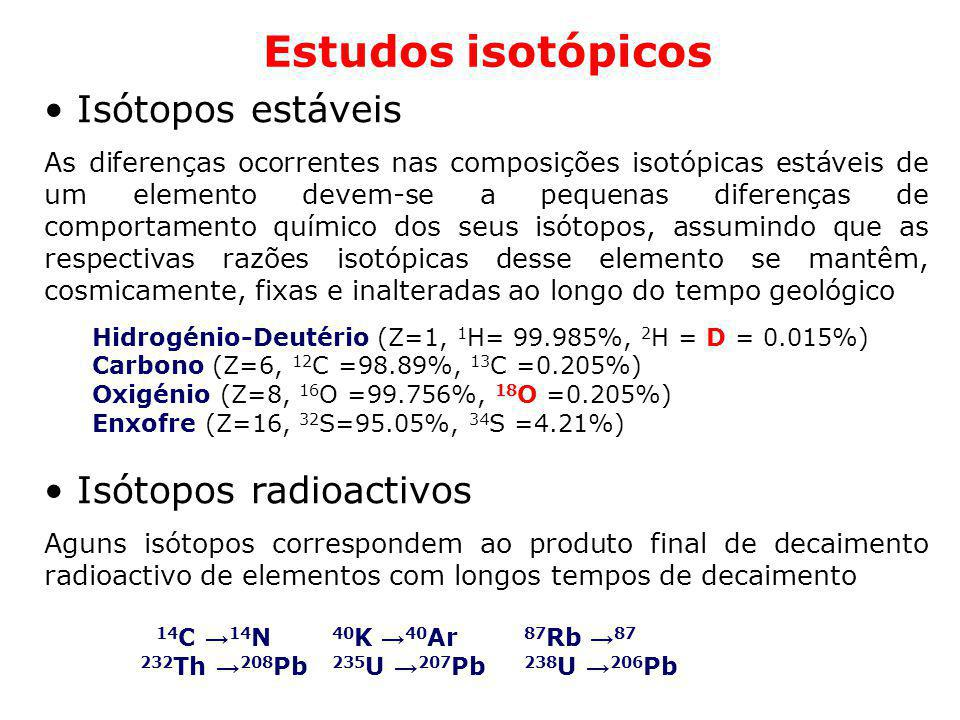 Estudos isotópicos Isótopos estáveis Isótopos radioactivos