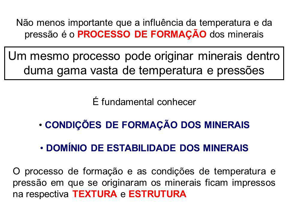 Não menos importante que a influência da temperatura e da pressão é o PROCESSO DE FORMAÇÃO dos minerais