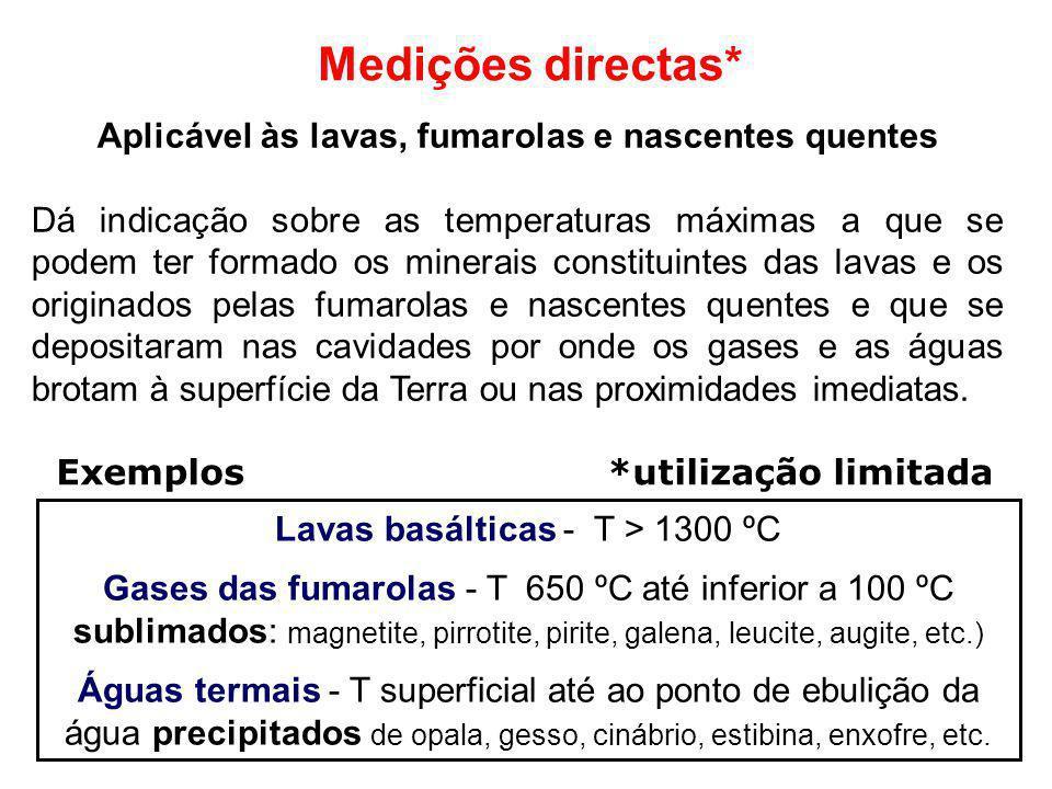 Medições directas* Aplicável às lavas, fumarolas e nascentes quentes