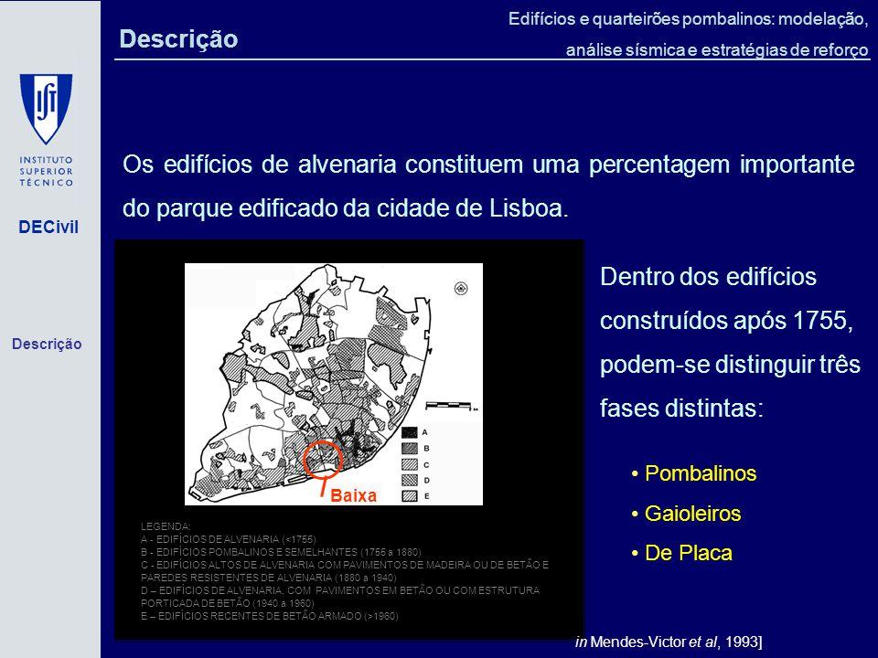 Descrição Os edifícios de alvenaria constituem uma percentagem importante do parque edificado da cidade de Lisboa.