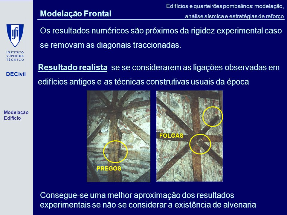 Modelação Frontal Os resultados numéricos são próximos da rigidez experimental caso se removam as diagonais traccionadas.