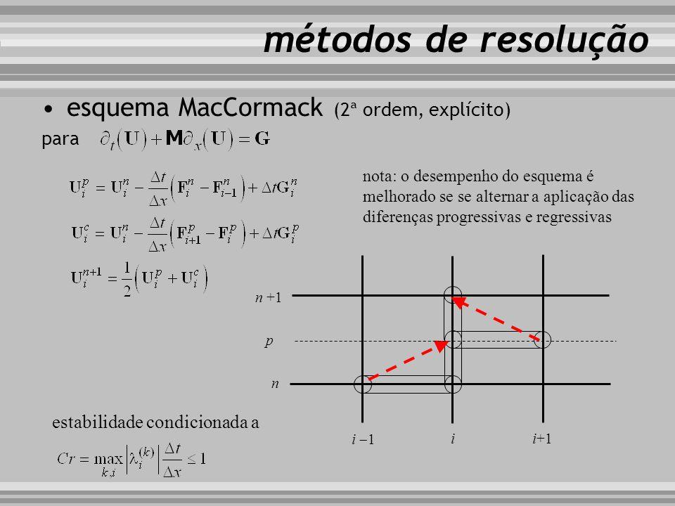 métodos de resolução esquema MacCormack (2ª ordem, explícito) para