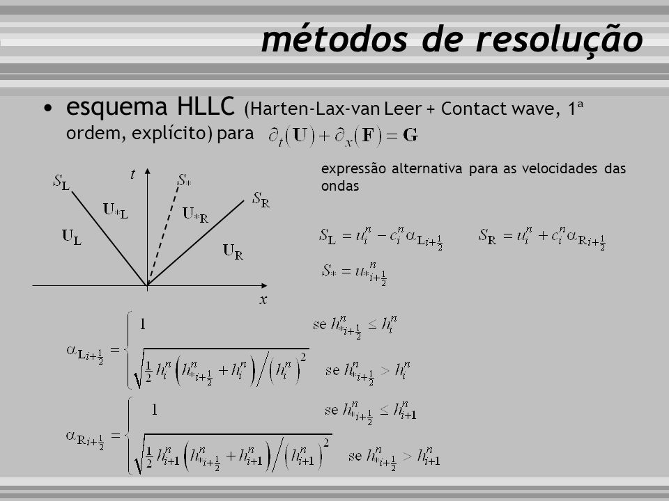 métodos de resolução esquema HLLC (Harten-Lax-van Leer + Contact wave, 1ª ordem, explícito) para.
