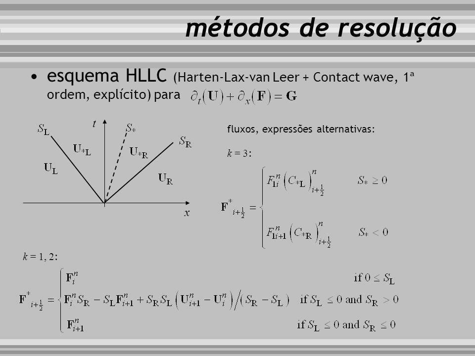 métodos de resolução esquema HLLC (Harten-Lax-van Leer + Contact wave, 1ª ordem, explícito) para. t.