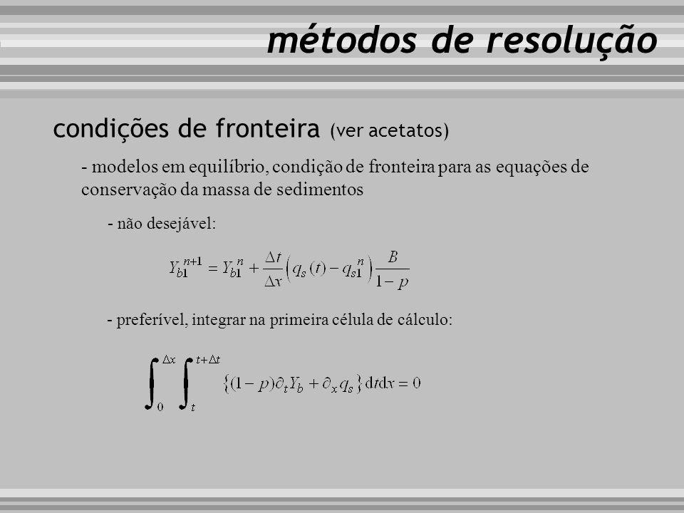 métodos de resolução condições de fronteira (ver acetatos)