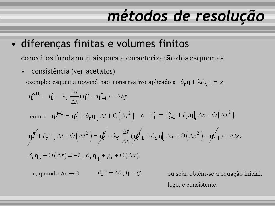 métodos de resolução diferenças finitas e volumes finitos