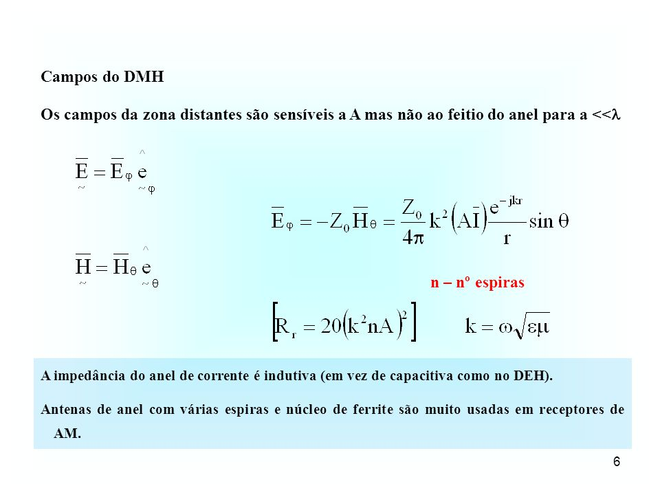 Campos do DMH Os campos da zona distantes são sensíveis a A mas não ao feitio do anel para a << n – nº espiras.