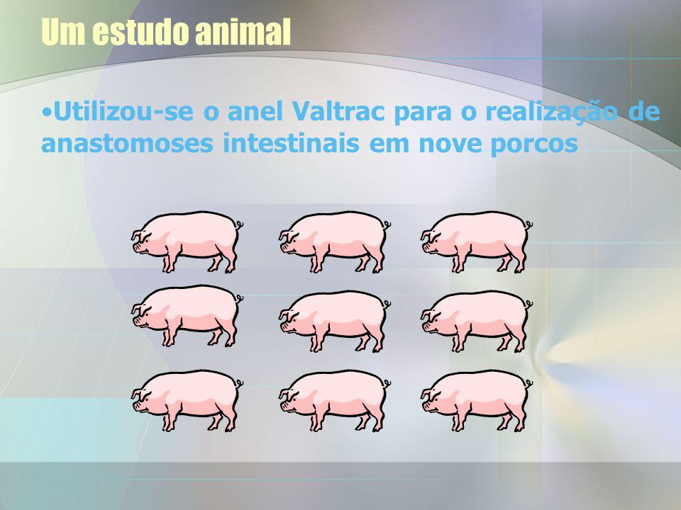Um estudo animal Utilizou-se o anel Valtrac para o realização de anastomoses intestinais em nove porcos.
