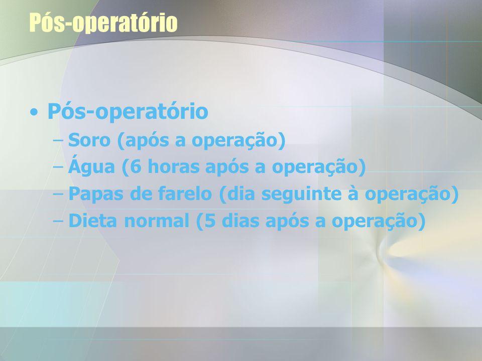 Pós-operatório Pós-operatório Soro (após a operação)